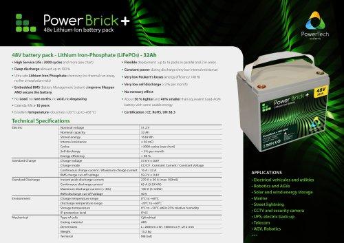 48V battery pack - Lithium Iron-Phosphate (LiFePO4) - 32Ah