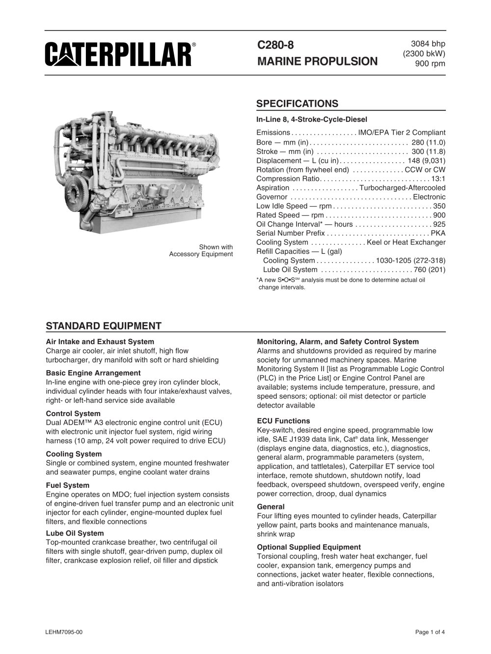 3s8670 Caterpillar Wiring Harness Library Shrink Wrapping Cat C280 8 Spec Sheets Marine Power Systems Pdf Wire Assembly