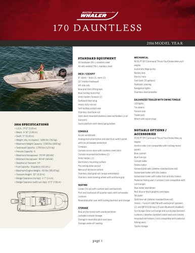 170 DAUNTLESS Specifications 2016