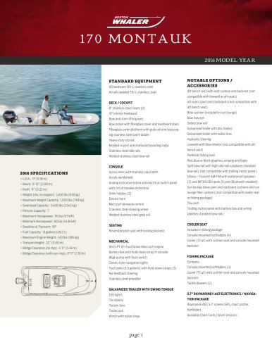 170 MONTAUK Specifications 2016