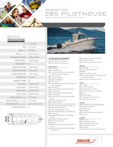 285-CONQUEST-PILOTHOUSE-2020-SPEC-SHEET