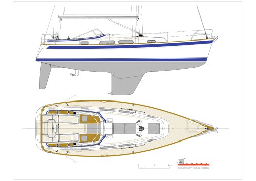 Hallberg-Rassy 372 Deck plan and exterior side view
