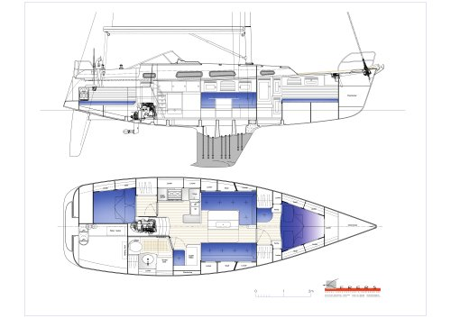 Hallberg-Rassy 372 Interior drawings