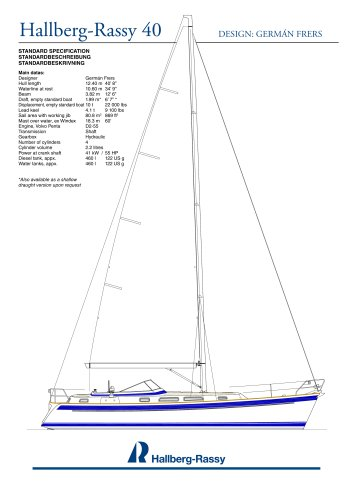 Hallberg-Rassy 40 Standard specifications
