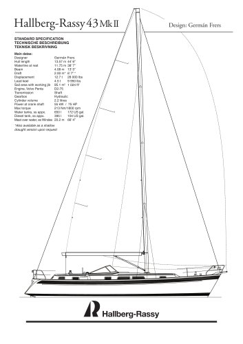 Hallberg-Rassy 43 Mk II Standard specifications