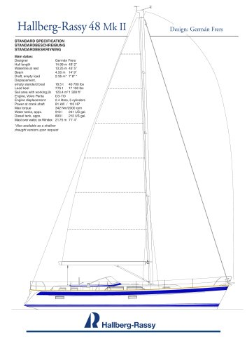 Hallberg-Rassy 48 Standard specifications