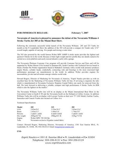 NOVURANIA WILLIAMS MIA B.S PRESS RELEASE