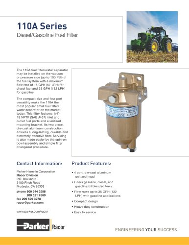 110A Series Diesel/Gasoline Fuel Filter