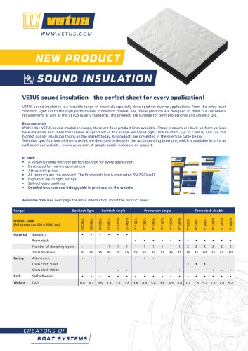 VETUS sound insulation data sheet