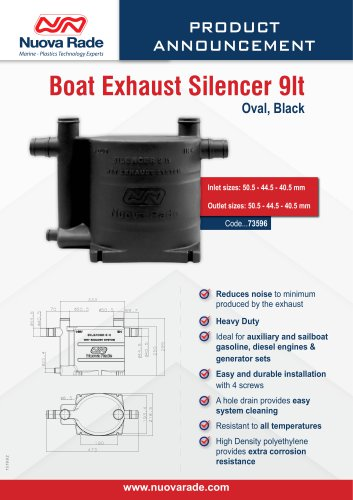 Boat Exhaust Silencer 9lt, Oval, Black