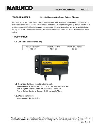 28106 - Marinco On-Board Battery Charger