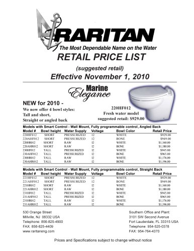 2011 RARITAN Price List