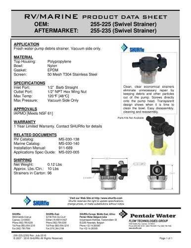 pds- Swivel Nut Strainer - Barb Inlet 255-225