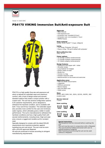 PS4170 Immersion/anti-exposure suit