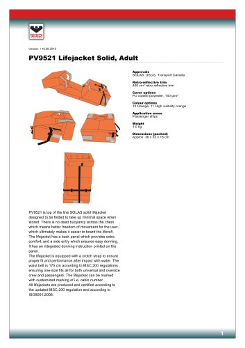 PV9521 Lifejacket Solid, Adult