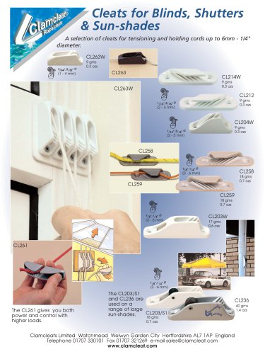 Cleats for Blinds & Shutters