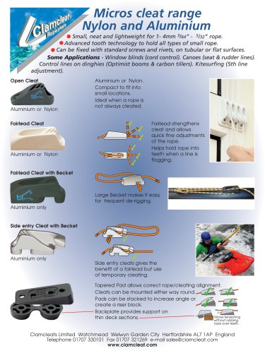 Micros cleat range for 1-4mm ropes