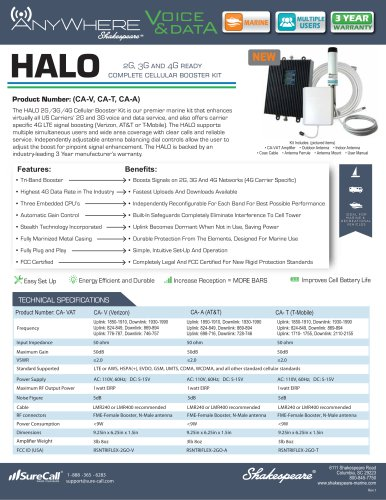 CA-V, CA-T, CA-A AnyWhere HALO 2G, 3G, 4G Cellular Amplifier