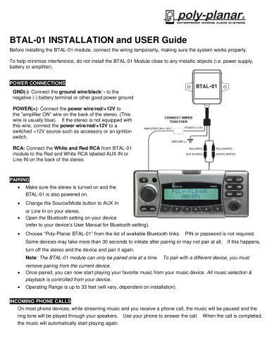 BTAL-01 Installation and user guide - Poly-Planar - PDF