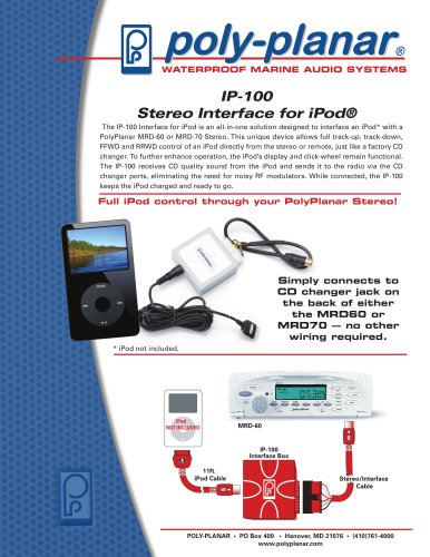 Poly-Planar IP-100 Stereo Interface for iPod®