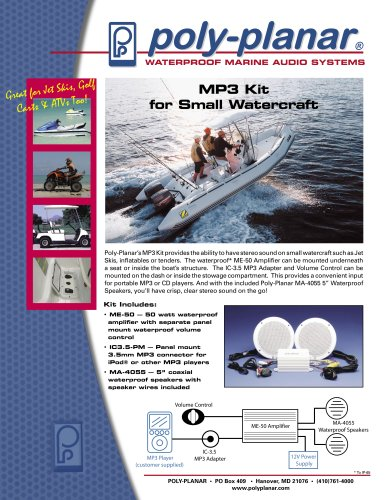 Poly-Planar MP3 Kit for Small Watercraft