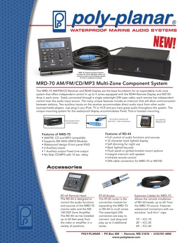 Poly-Planar MRD-70 AM/FM/CD/MP3 Multi-Zone Component System