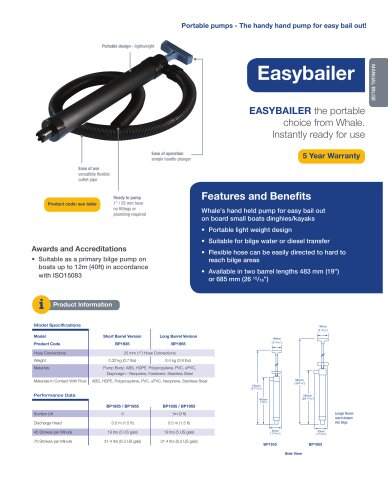 Easybailer - Bail out manual pump