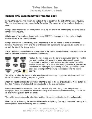 Replace Rudder Lip Seal