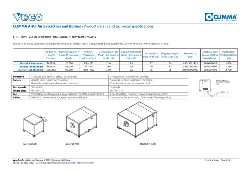 CLIMMA AHU, Air Extractors and Boilers