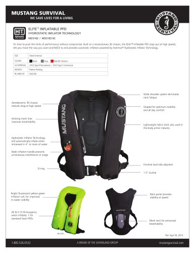 ELITE INFLATABLE PFD - MD5183 / MD5183 BC