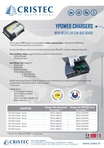 YPOWER CHARGERS WITH RELAYS OR CAN-BUS BOARD