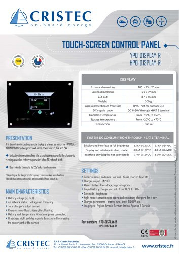 YPOWER HPOWER Touch-screen control panel