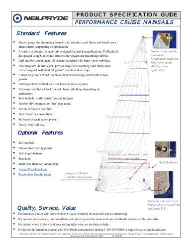 PERFORMANCE CRUISING SAILS mainsails