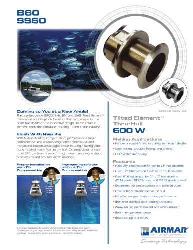 B60 Tilted Element Thru-hull Transducer