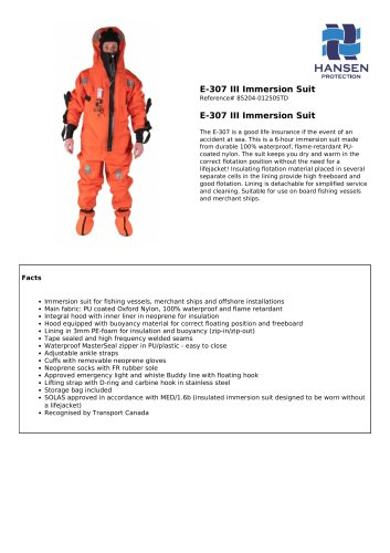 E-307 III Immersion Suit