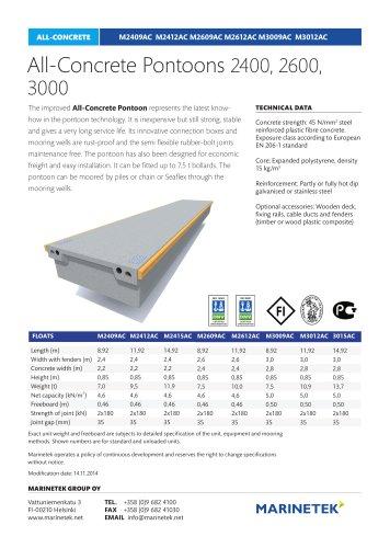 All-Concrete Pontoons 2400, 2600, 3000