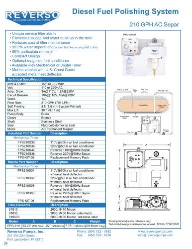 Marine Diesel Fuel Polishing System 210 GPH AC Separ