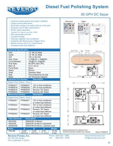 Marine Diesel Fuel Polishing System 80 GPH DC Separ