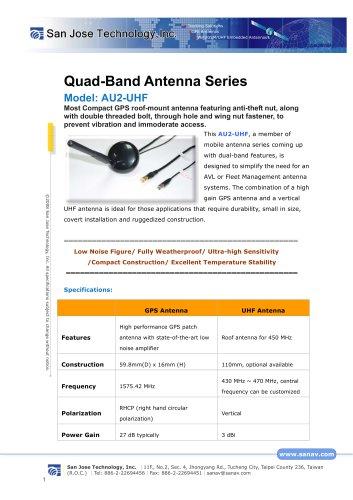 Quad-Band Antenna Series Model: AU2-UHF