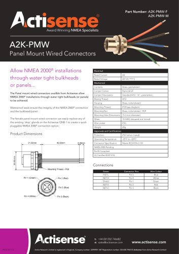 A2K-PMW Panel mount connectors