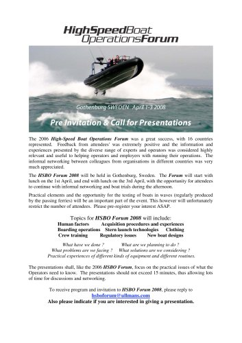 Pre Invitation & Call for Presentations - High-Speed Boat Operations Forum 2008