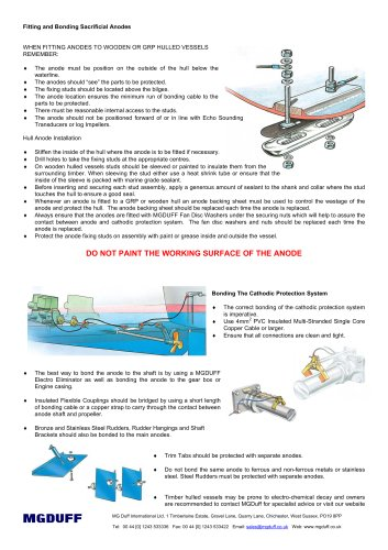 Anode Fitting Instructions for Wooden & GRP Hulled Vessels