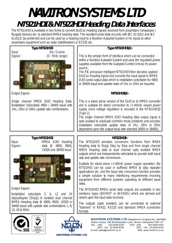 NT921HDI & NT922HDI