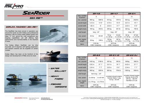 the SeaRider range brochure