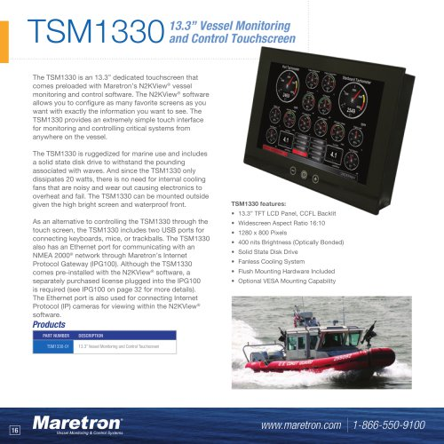 """TSM1330 13.3"""" vessel monitoring and control touchscreen"""