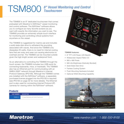 """TSM800 8"""" vessel monitoring and control touchscreen"""