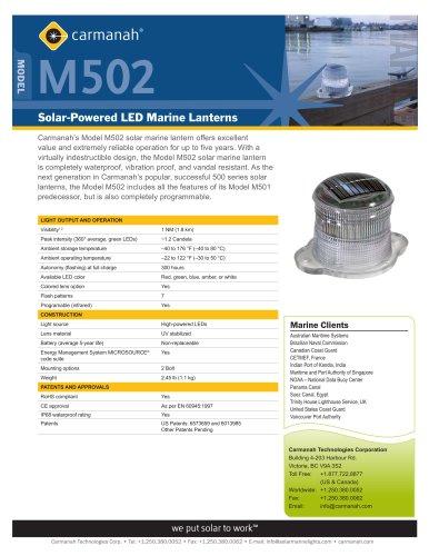 Carmanah?s Model M502 solar marine lantern