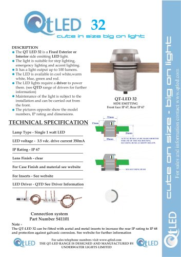QTLED 32 Fixed exterior or interior side emitter