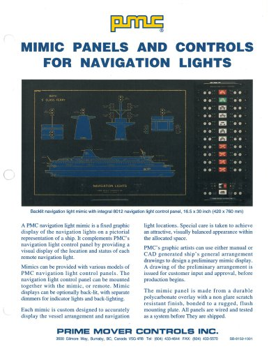 MIMIC PANELS AND CONTROLS FOR NAVIGATION LIGHTS