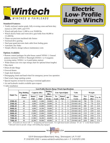 Electric Low-Profile Barge Winch